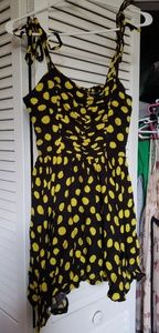 Urban outfitter black sundress with polka dots